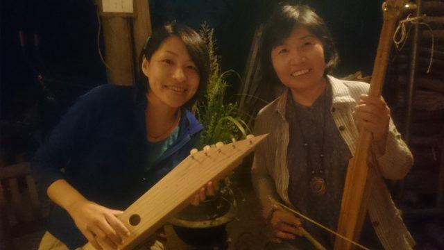 ~左:Kちゃん(カンテレ)、右:Hさん(奥河内三弦)、素敵な演奏を有難うございました☆彡~