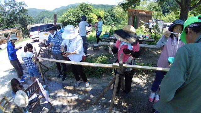 ~流しそうめんの竹樋は、田んぼ周りの整備で伐採。日照確保と有効活用(^^)v~