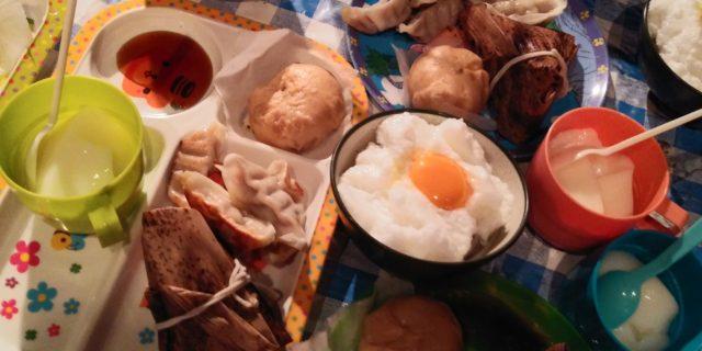 2018.9.22⑥二胡に因んだ夕食は中華シリーズ。汁椀は、雲と満月をモチーフに