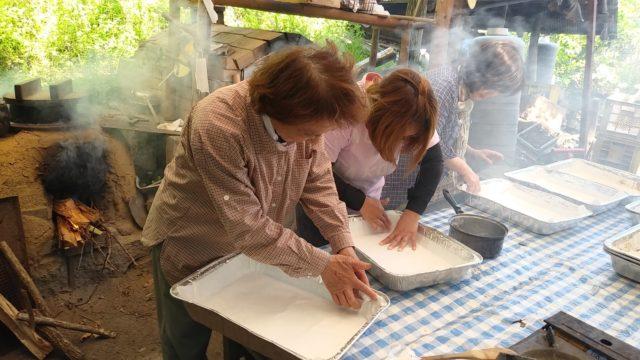 麩のりと和紙でホイロ作り