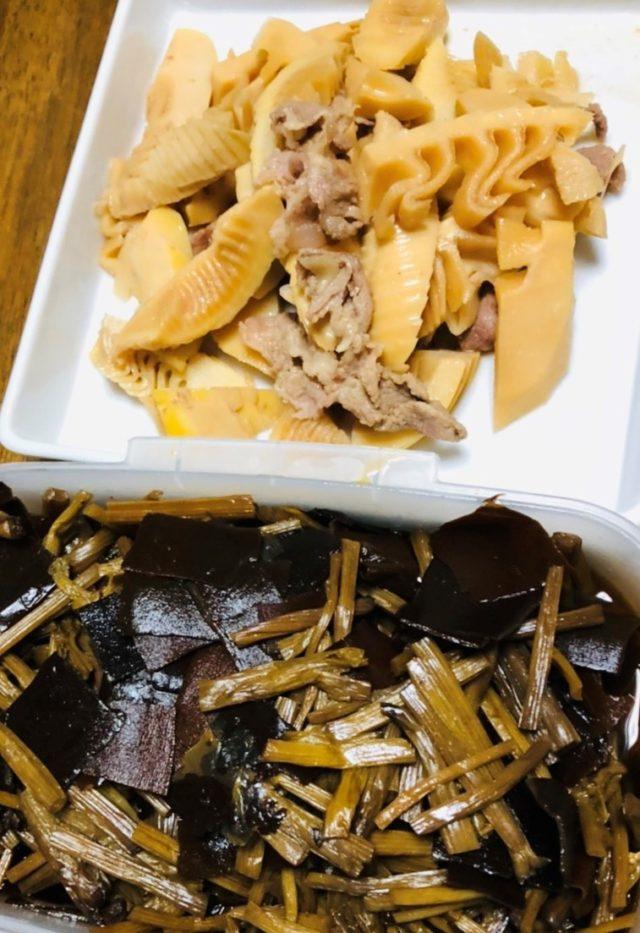 筍と豚肉の煮物 やまぶきと昆布の佃煮